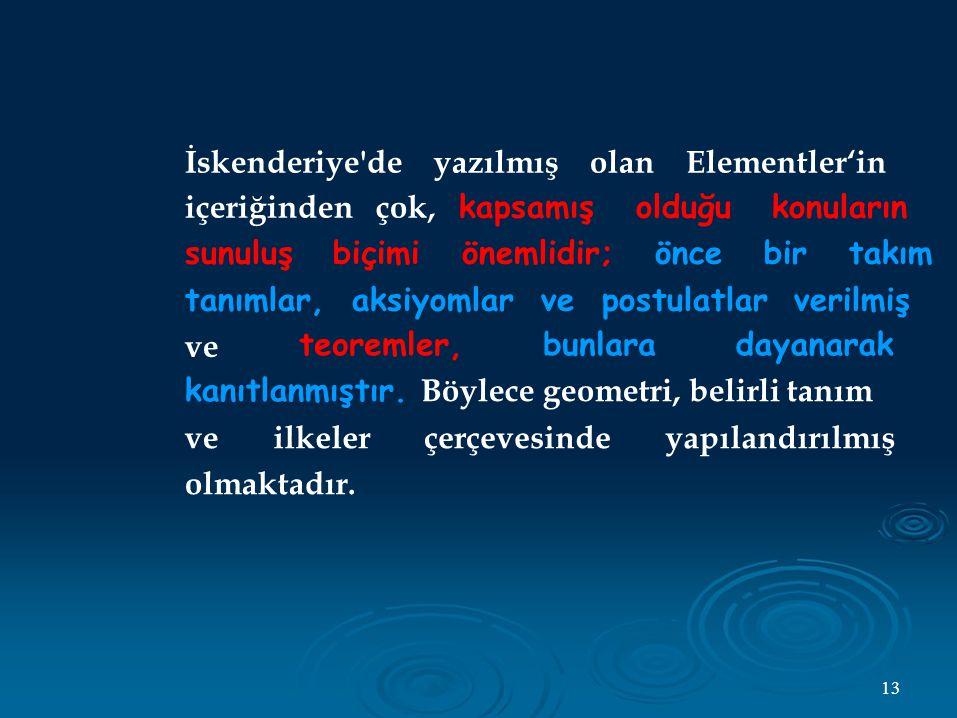 İskenderiye de yazılmış olan Elementler'in