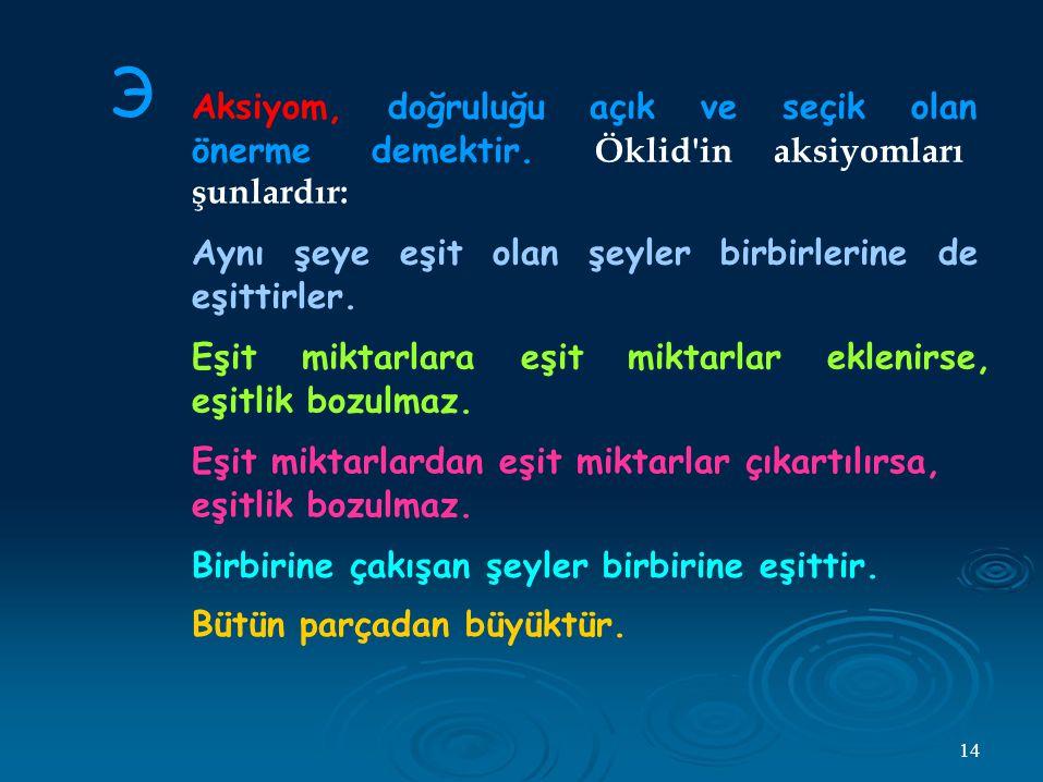 Э Aksiyom, doğruluğu açık ve seçik olan