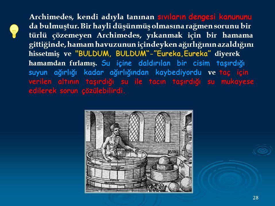 Archimedes, kendi adıyla tanınan sıvıların dengesi kanununu