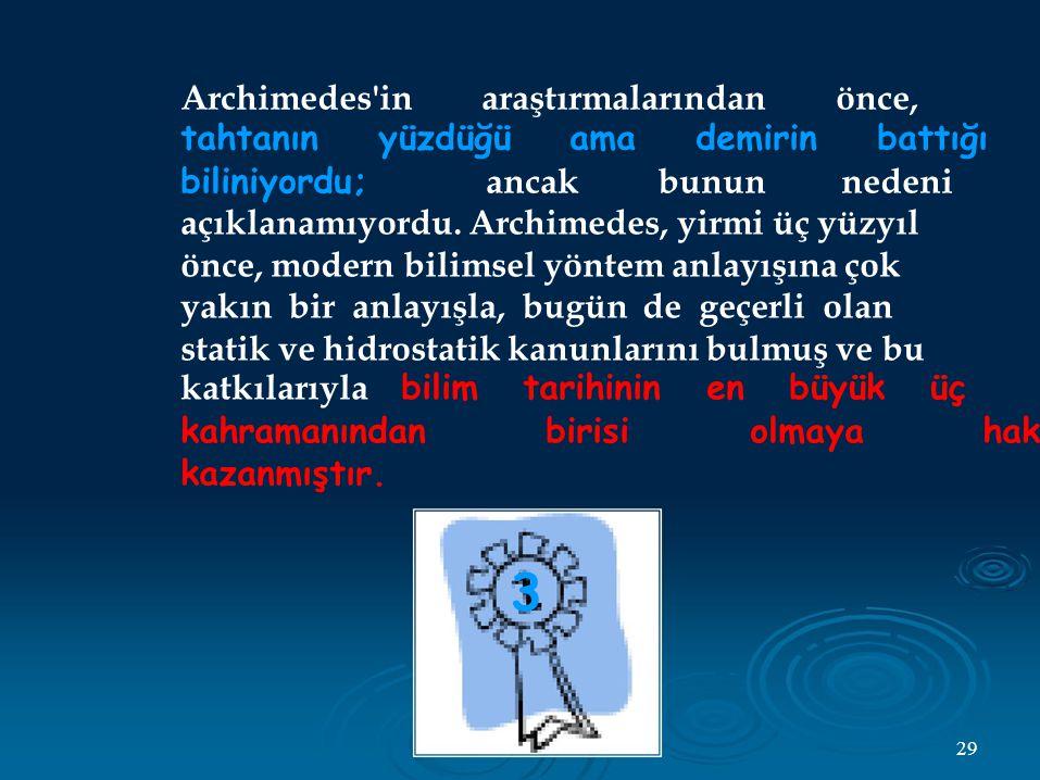 3 Archimedes in araştırmalarından önce,