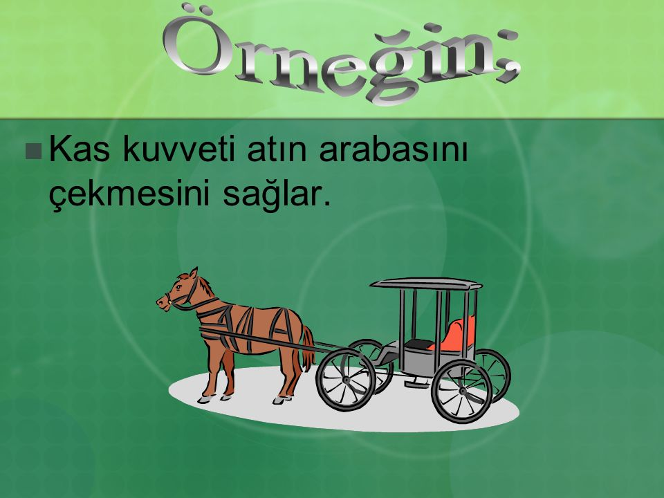 Kas kuvveti atın arabasını çekmesini sağlar.