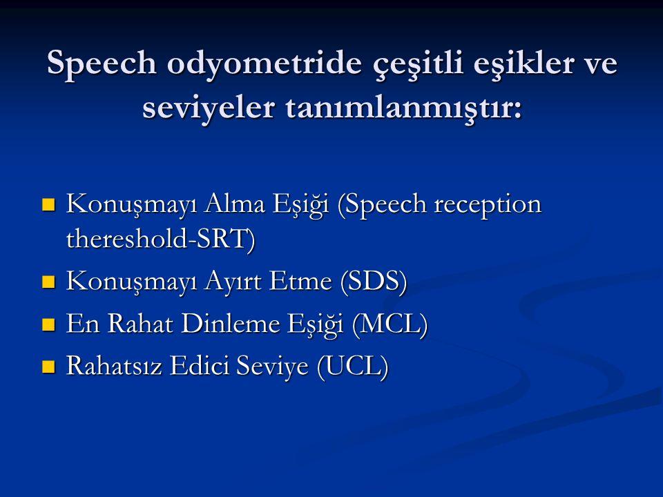 Speech odyometride çeşitli eşikler ve seviyeler tanımlanmıştır: