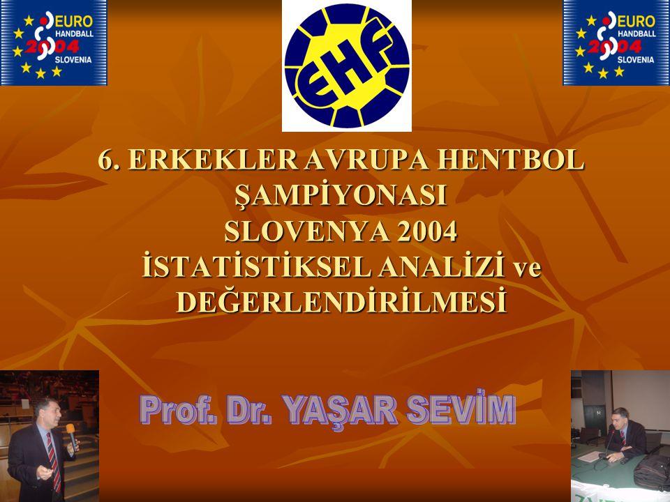6. ERKEKLER AVRUPA HENTBOL ŞAMPİYONASI SLOVENYA 2004 İSTATİSTİKSEL ANALİZİ ve DEĞERLENDİRİLMESİ