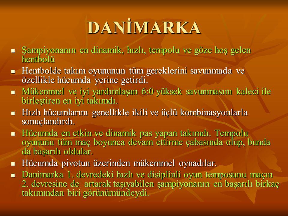 DANİMARKA Şampiyonanın en dinamik, hızlı, tempolu ve göze hoş gelen hentbolü.