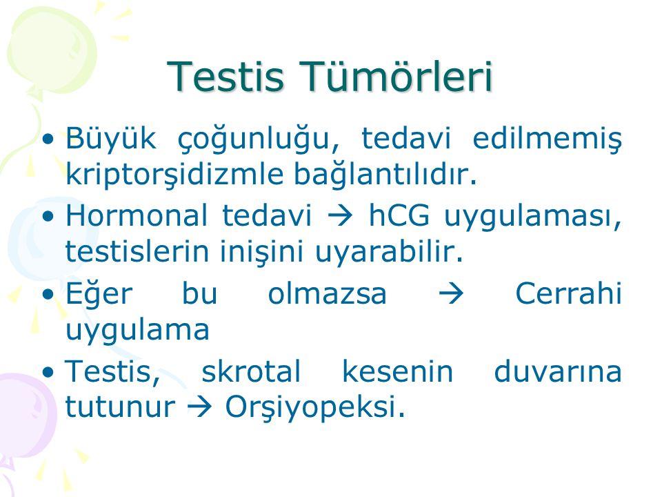 Testis Tümörleri Büyük çoğunluğu, tedavi edilmemiş kriptorşidizmle bağlantılıdır. Hormonal tedavi  hCG uygulaması, testislerin inişini uyarabilir.