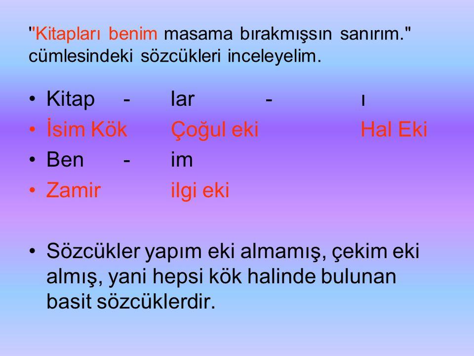 İsim Kök Çoğul eki Hal Eki Ben - im Zamir ilgi eki