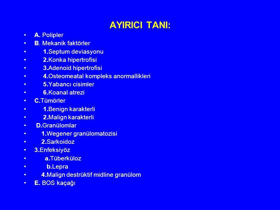 AYIRICI TANI: A. Polipler B. Mekanik faktörler 1.Septum deviasyonu