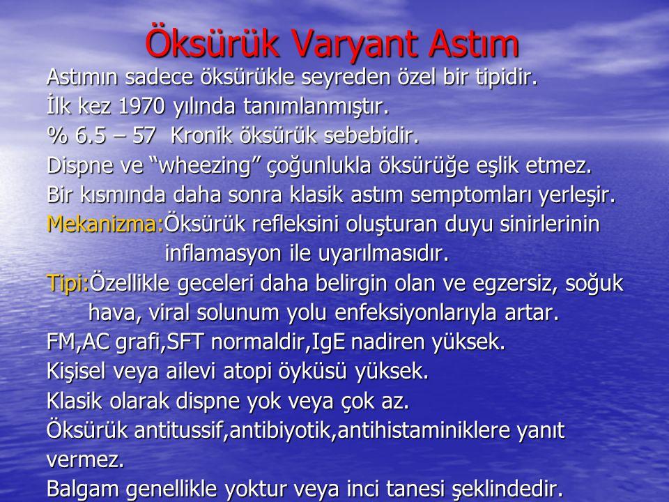 Öksürük Varyant Astım Astımın sadece öksürükle seyreden özel bir tipidir. İlk kez 1970 yılında tanımlanmıştır.