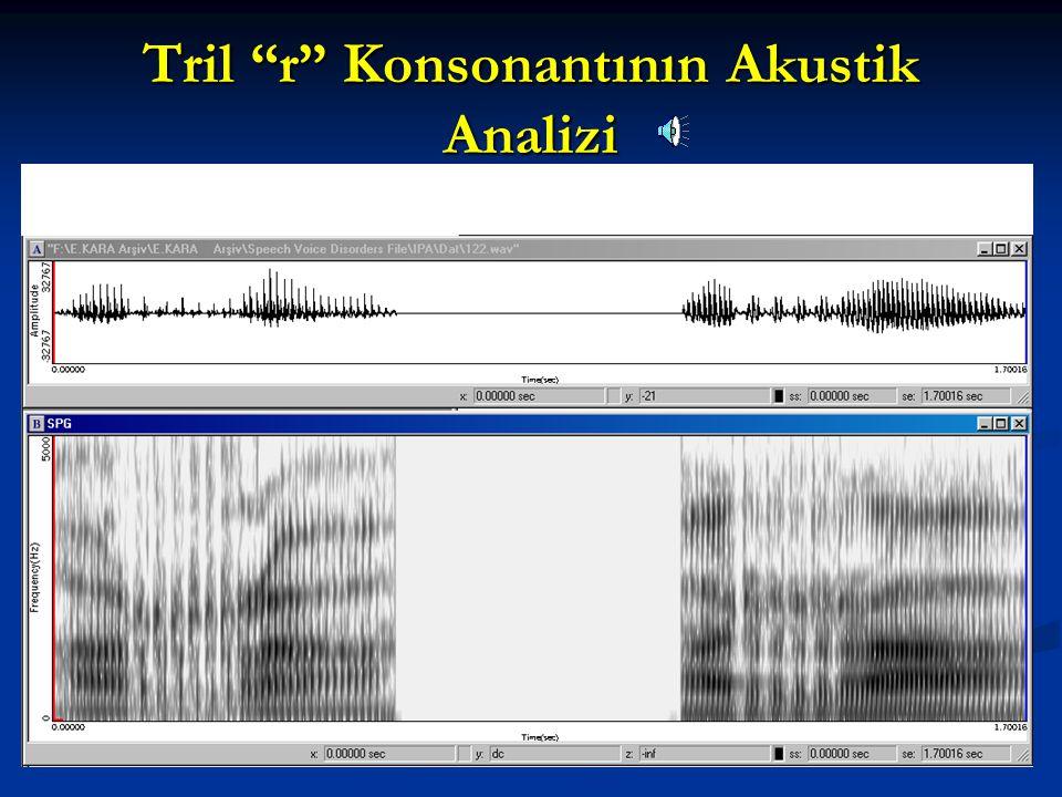 Tril r Konsonantının Akustik Analizi