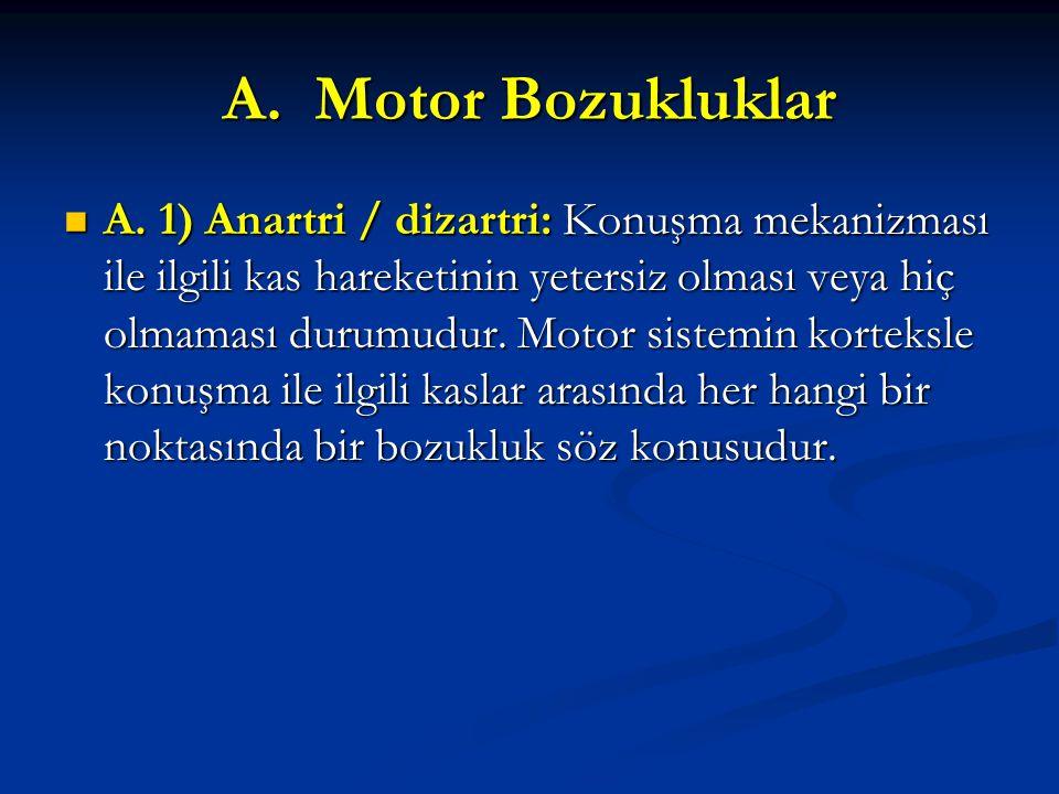 A. Motor Bozukluklar