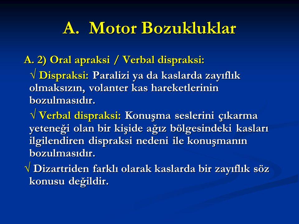 A. Motor Bozukluklar A. 2) Oral apraksi / Verbal dispraksi: