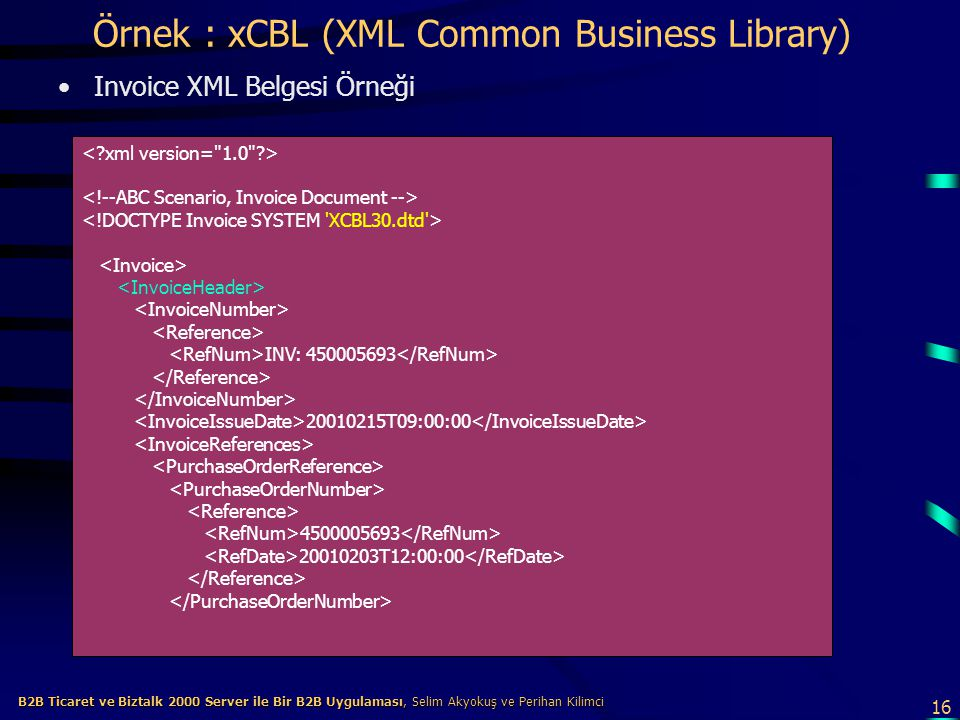 Örnek : xCBL (XML Common Business Library)