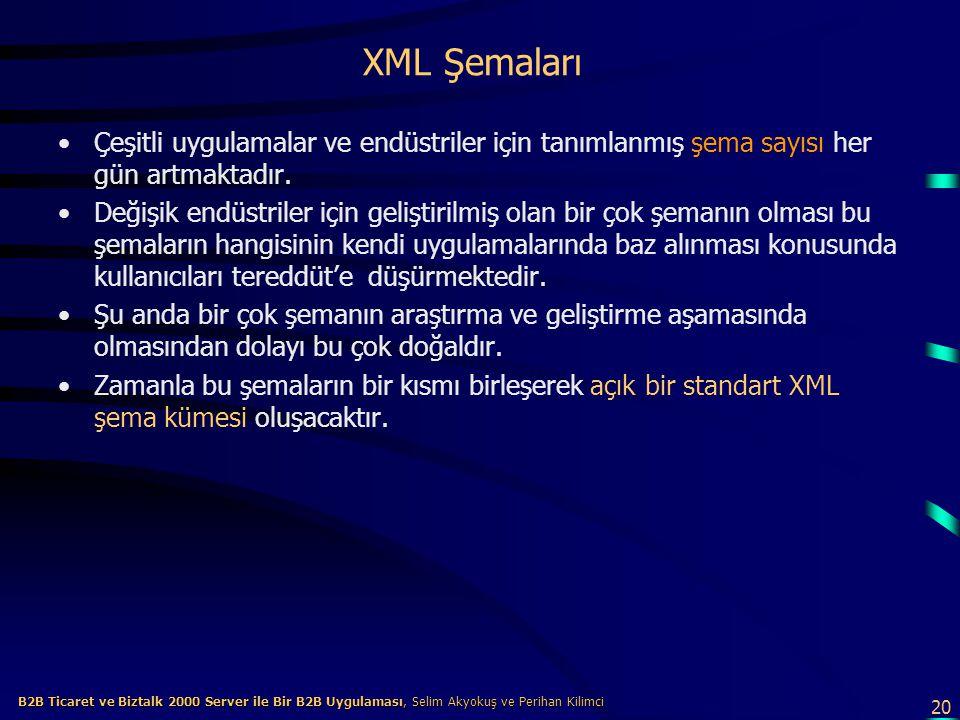XML Şemaları Çeşitli uygulamalar ve endüstriler için tanımlanmış şema sayısı her gün artmaktadır.