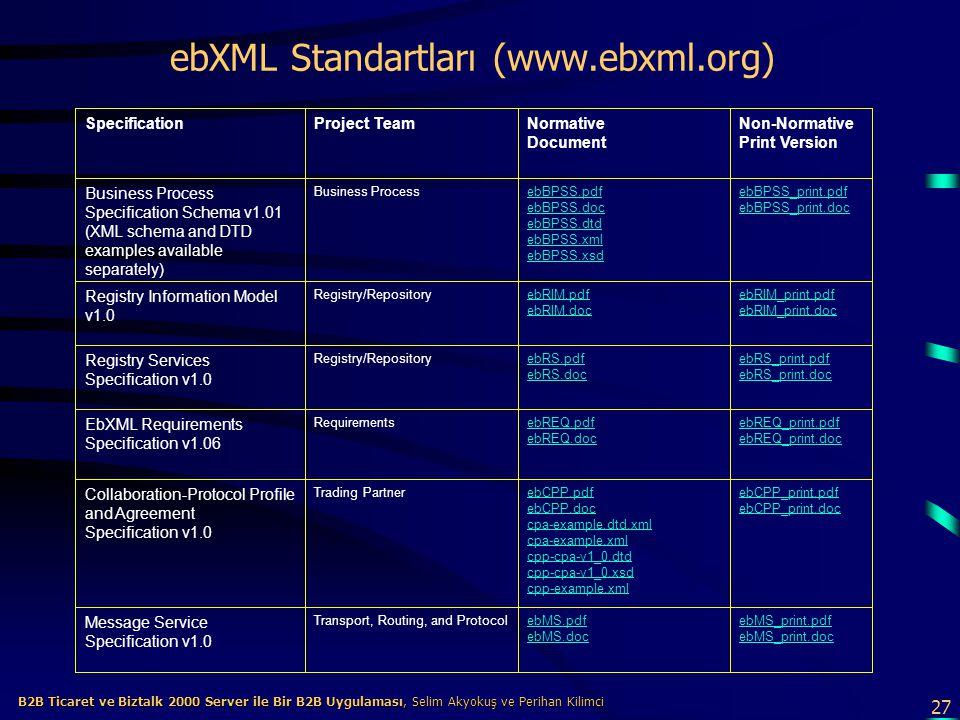 ebXML Standartları (www.ebxml.org)