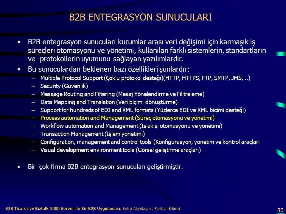 B2B ENTEGRASYON SUNUCULARI