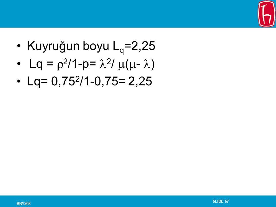 Kuyruğun boyu Lq=2,25 Lq = 2/1-p= 2/ (- ) Lq= 0,752/1-0,75= 2,25