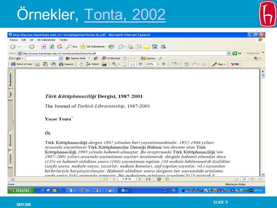 Örnekler, Tonta, 2002 BBY208