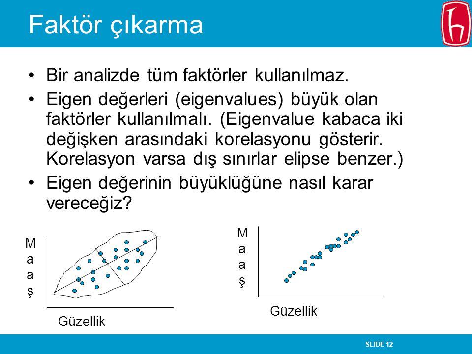 Faktör çıkarma Bir analizde tüm faktörler kullanılmaz.