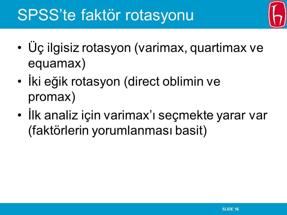 SPSS'te faktör rotasyonu