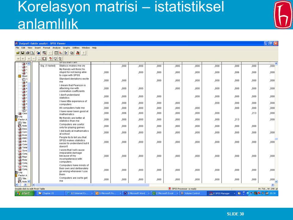 Korelasyon matrisi – istatistiksel anlamlılık