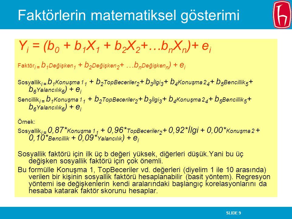 Faktörlerin matematiksel gösterimi
