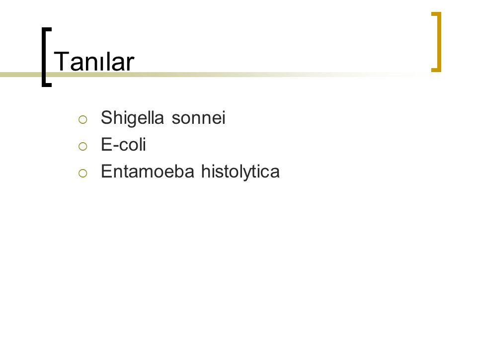 Tanılar Shigella sonnei E-coli Entamoeba histolytica