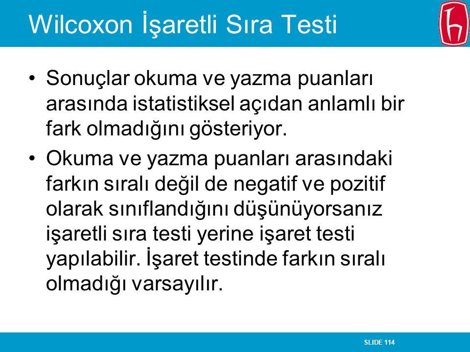 Wilcoxon İşaretli Sıra Testi