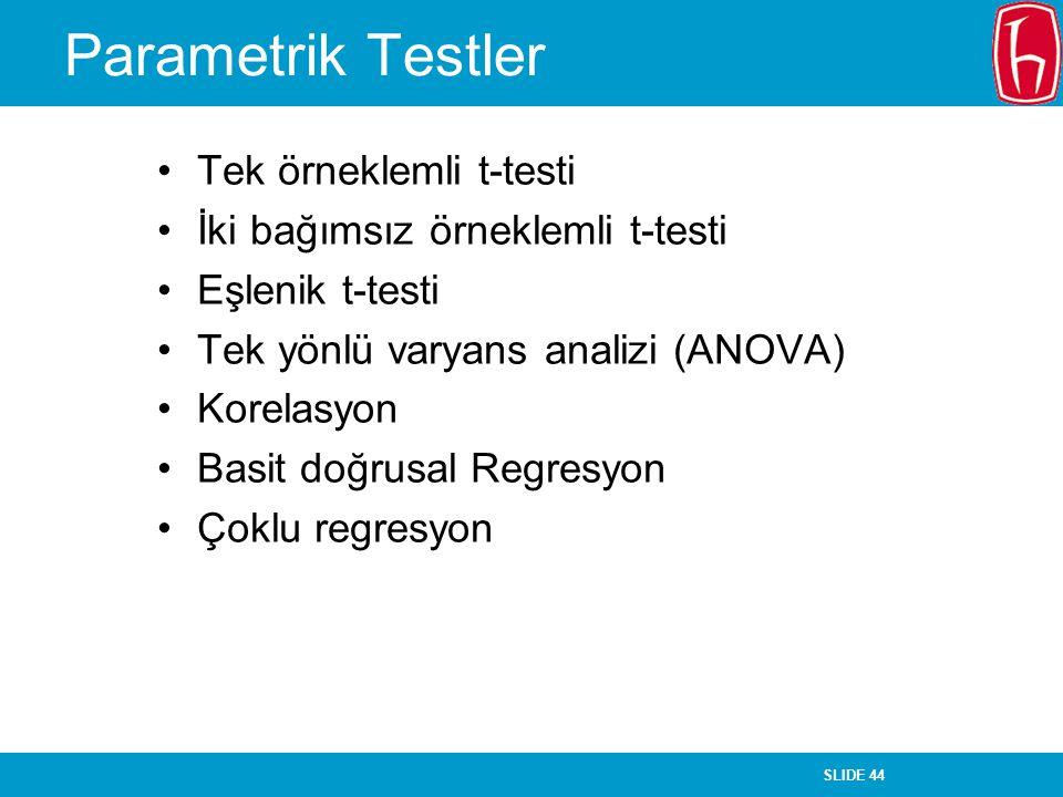 Parametrik Testler Tek örneklemli t-testi