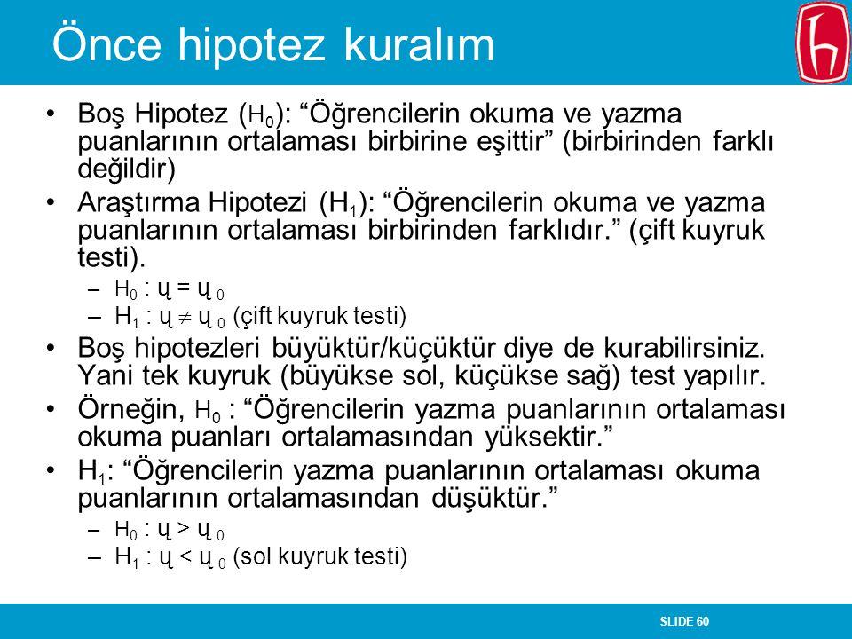 Önce hipotez kuralım Boş Hipotez (H0): Öğrencilerin okuma ve yazma puanlarının ortalaması birbirine eşittir (birbirinden farklı değildir)