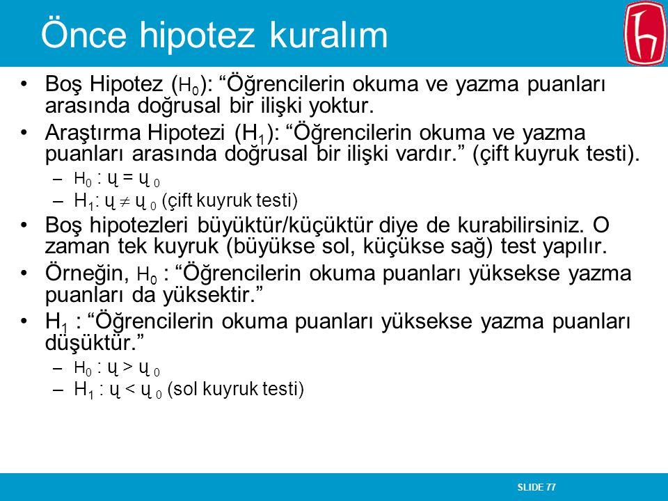 Önce hipotez kuralım Boş Hipotez (H0): Öğrencilerin okuma ve yazma puanları arasında doğrusal bir ilişki yoktur.