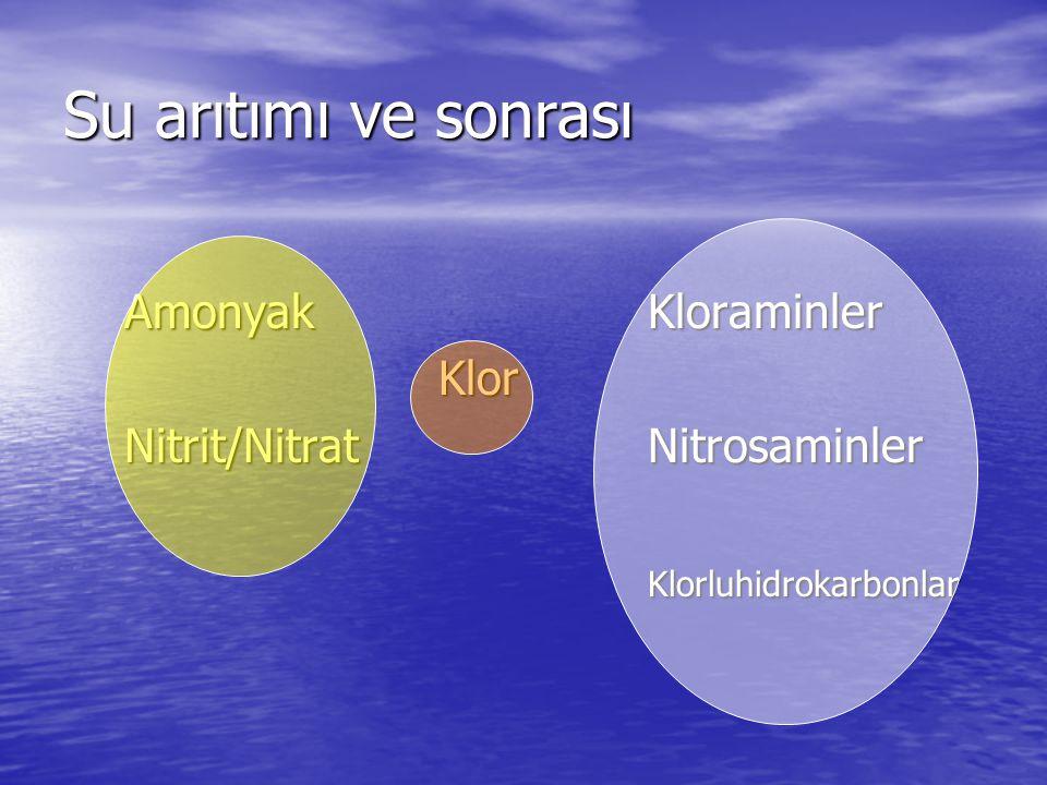 Su arıtımı ve sonrası Amonyak Kloraminler Klor