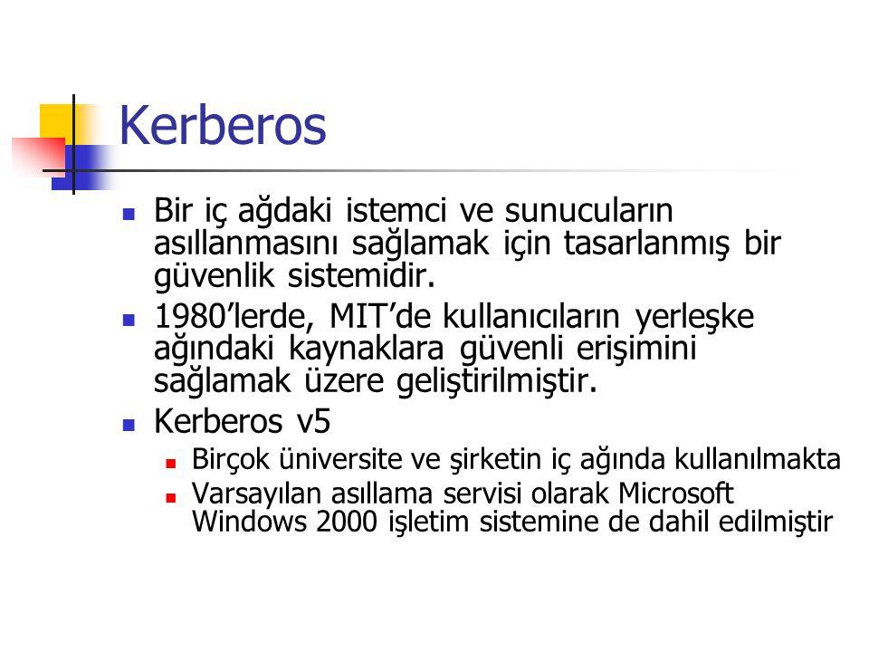 Kerberos Bir iç ağdaki istemci ve sunucuların asıllanmasını sağlamak için tasarlanmış bir güvenlik sistemidir.