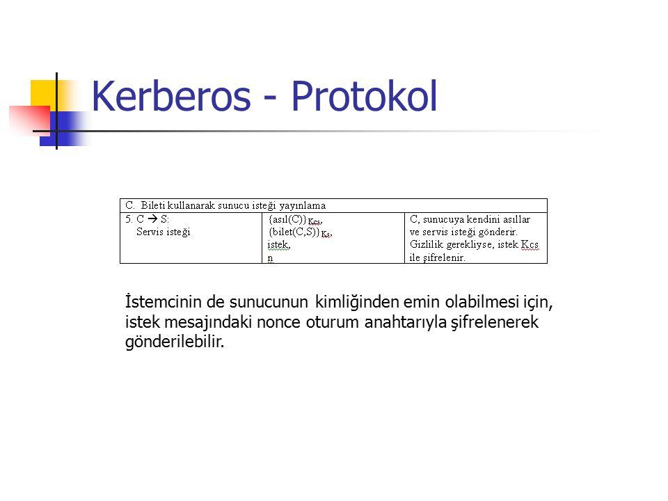 Kerberos - Protokol İstemcinin de sunucunun kimliğinden emin olabilmesi için, istek mesajındaki nonce oturum anahtarıyla şifrelenerek gönderilebilir.