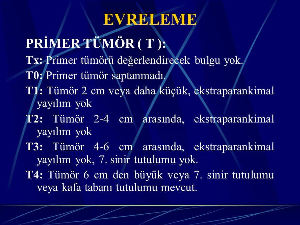 EVRELEME PRİMER TÜMÖR ( T ):