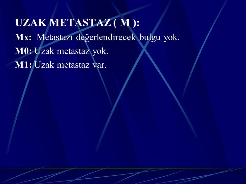UZAK METASTAZ ( M ): Mx: Metastazı değerlendirecek bulgu yok.