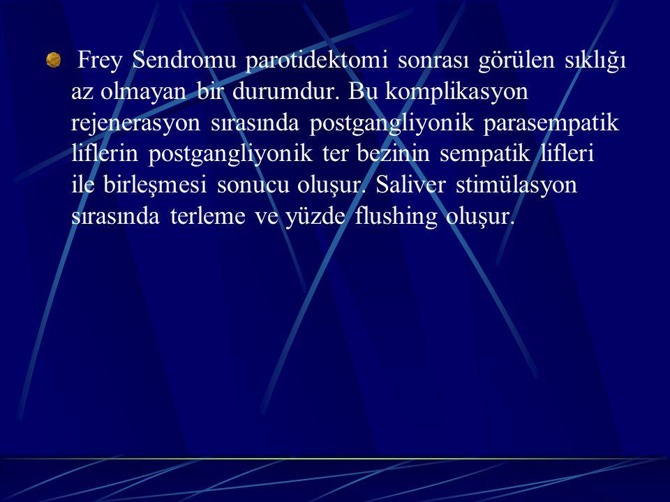 Frey Sendromu parotidektomi sonrası görülen sıklığı az olmayan bir durumdur.