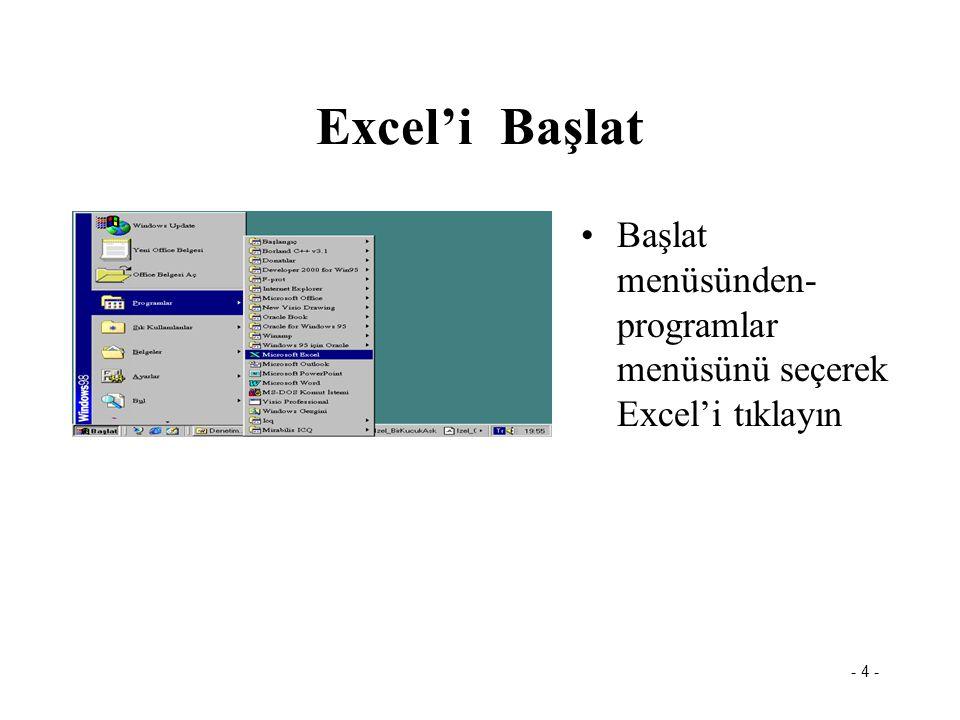 Excel'i Başlat Başlat menüsünden- programlar menüsünü seçerek Excel'i tıklayın