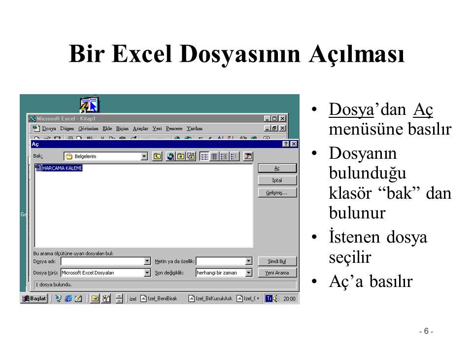 Bir Excel Dosyasının Açılması