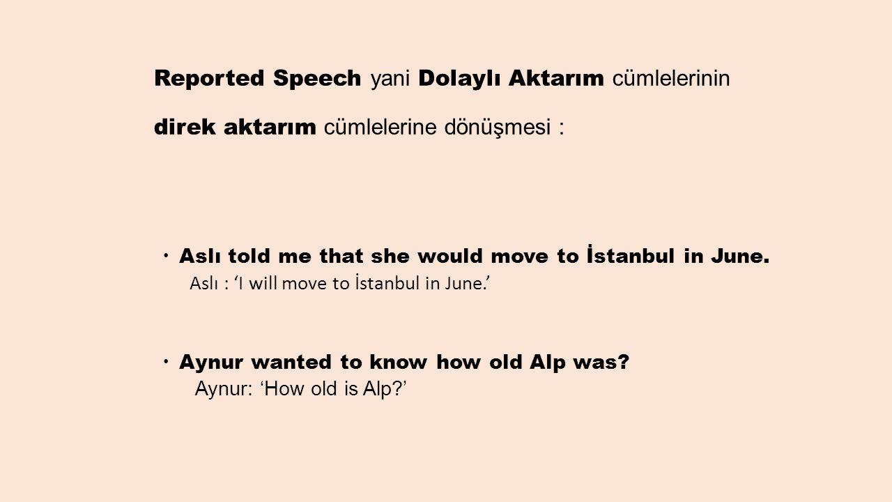 Reported Speech yani Dolaylı Aktarım cümlelerinin direk aktarım cümlelerine dönüşmesi :