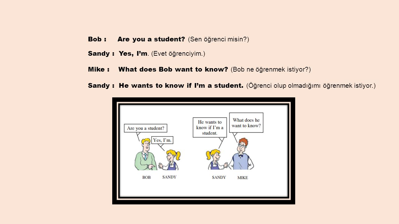Bob : Are you a student. (Sen öğrenci misin. ) Sandy : Yes, I'm