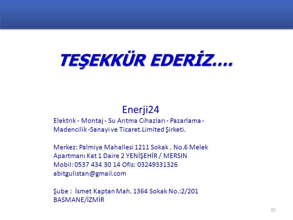 TEŞEKKÜR EDERİZ…. Enerji24