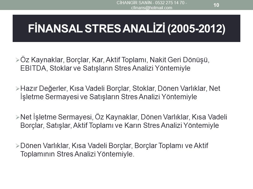 FİNANSAL STRES ANALİZİ (2005-2012)