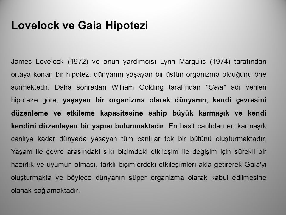 Lovelock ve Gaia Hipotezi