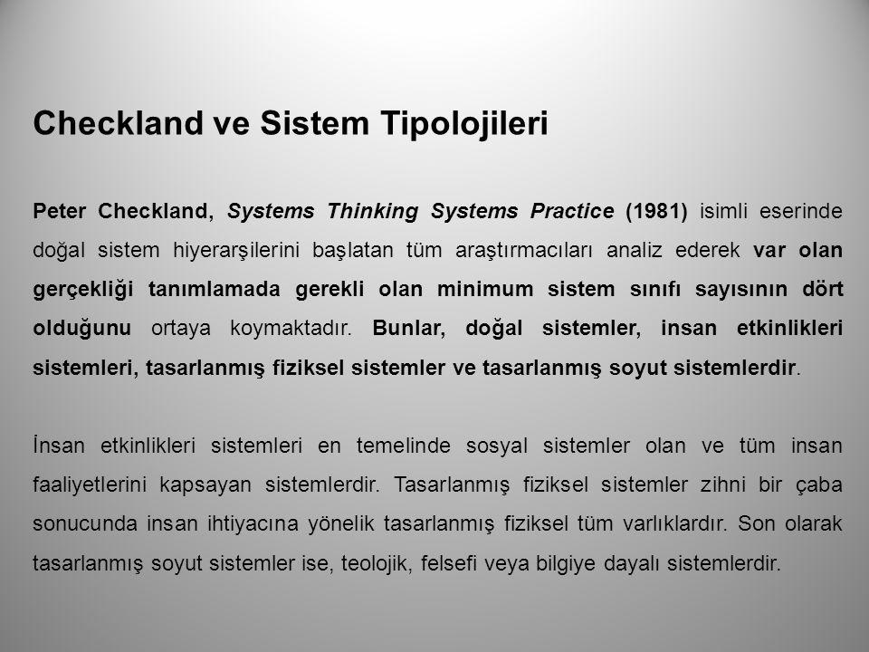 Checkland ve Sistem Tipolojileri