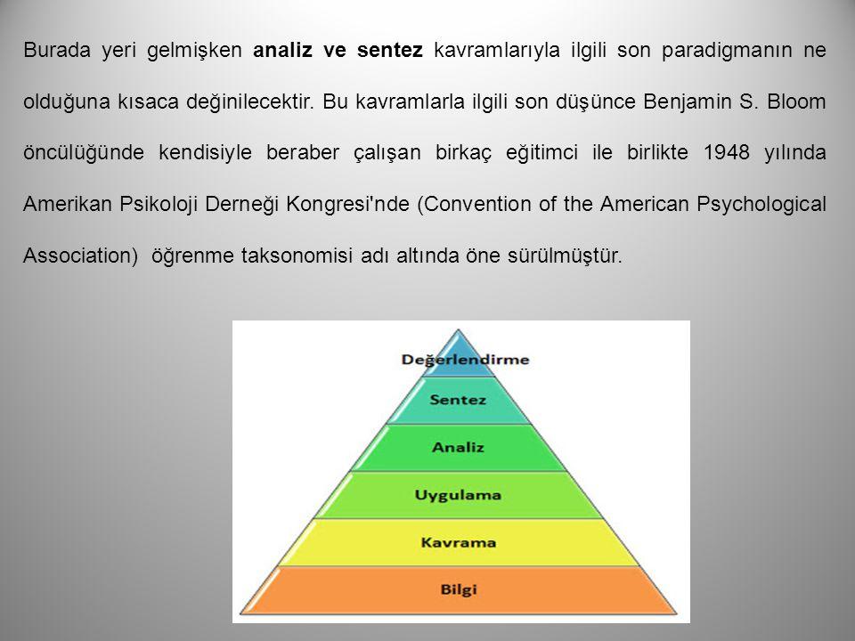 Burada yeri gelmişken analiz ve sentez kavramlarıyla ilgili son paradigmanın ne olduğuna kısaca değinilecektir.