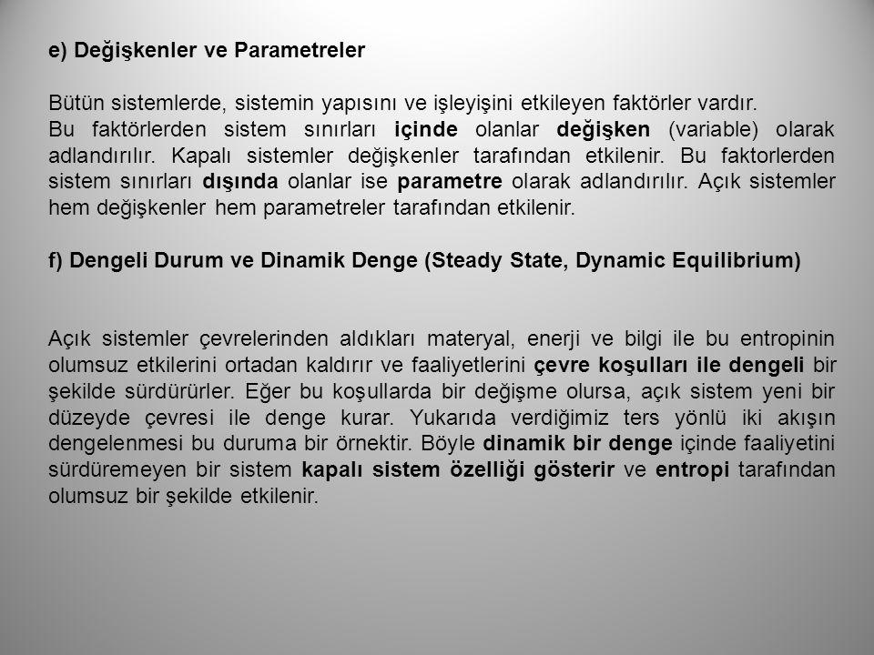 e) Değişkenler ve Parametreler