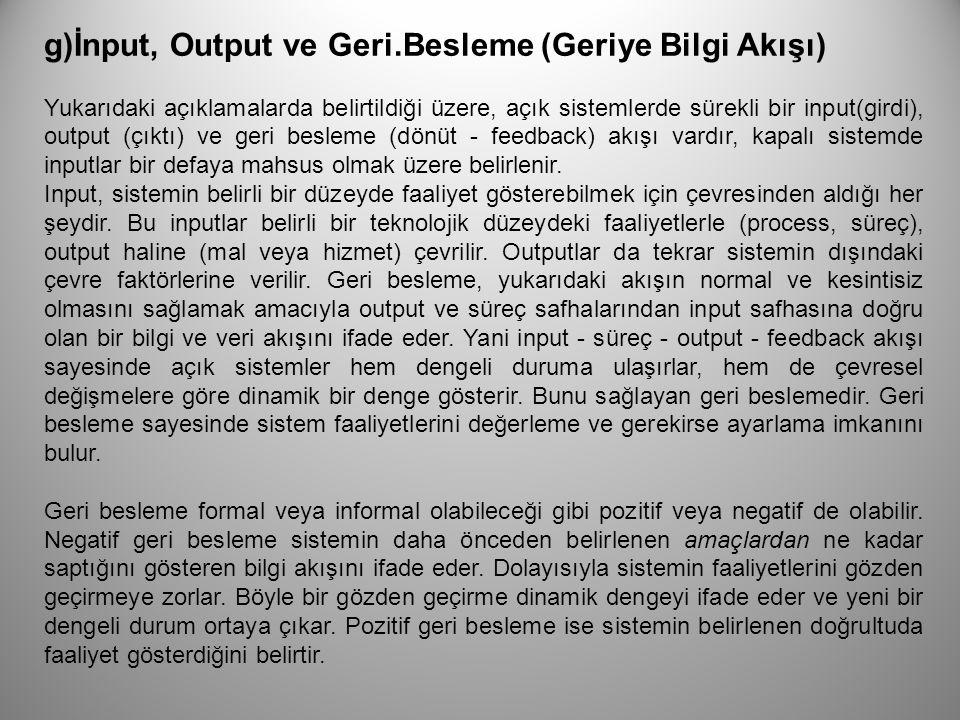 g)İnput, Output ve Geri.Besleme (Geriye Bilgi Akışı)