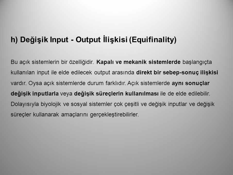 h) Değişik Input - Output İlişkisi (Equifinality)