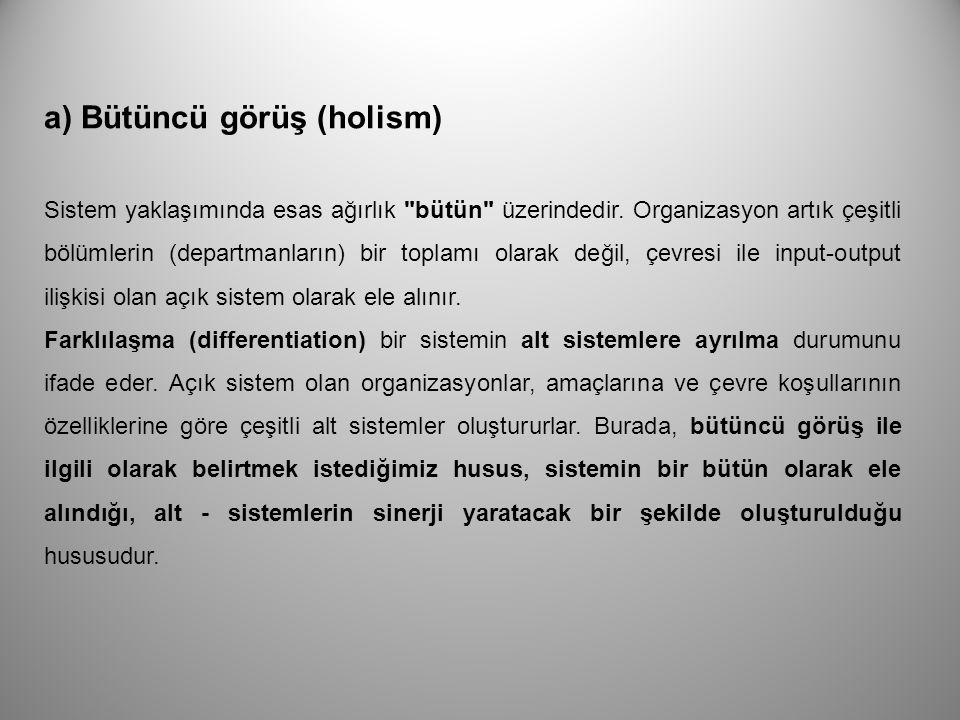 a) Bütüncü görüş (holism)