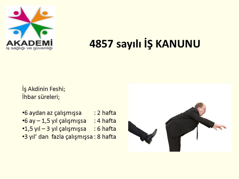 4857 sayılı İŞ KANUNU İş Akdinin Feshi; İhbar süreleri;